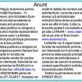Regia Autonomã pentru Activitãţi Nucleare – în faliment, prin lichidator Euro Insol anunţã scoaterea la vânzare prin procedura licitaţiei publice cu strigare a bunurilor mobile reprezentând mijloace auto. La...
